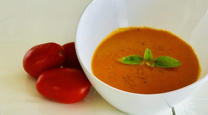 Vegan roasted tomato and carrot bisque soup