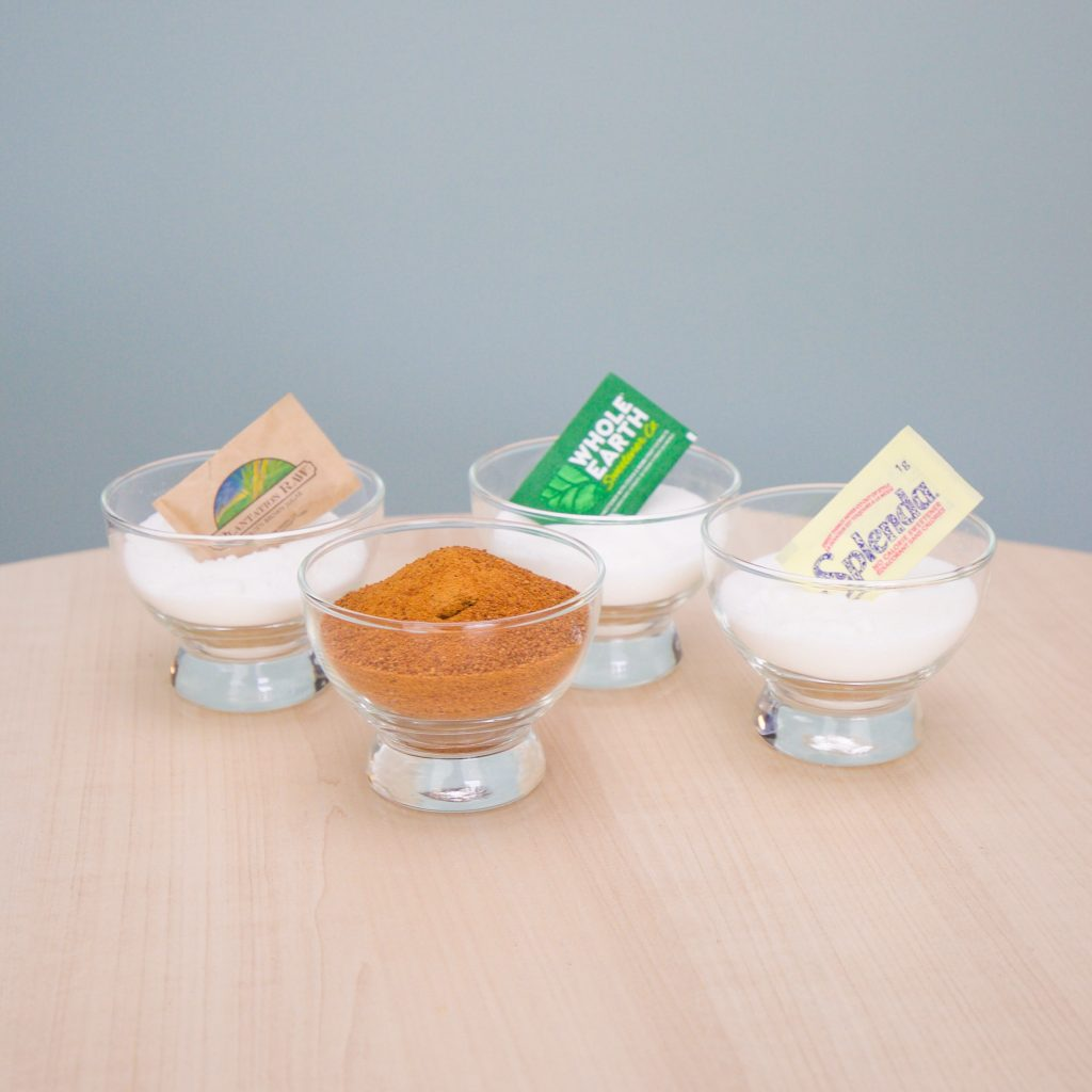 sugars and sweeteners in glass bowls