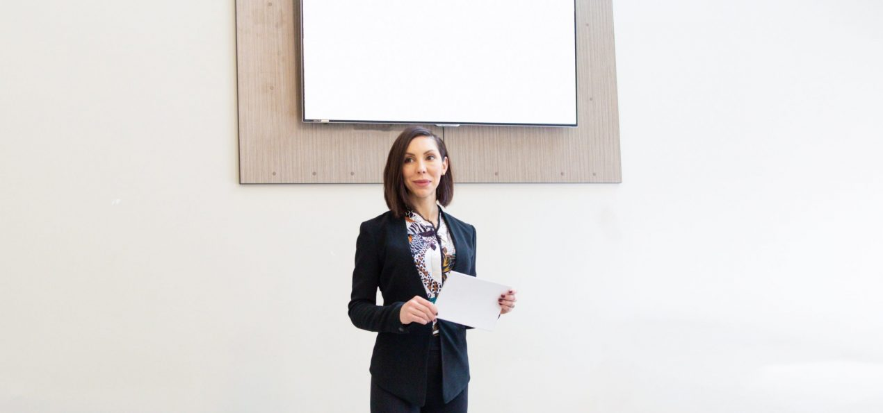 LISA SPRIET Standing in front of a room delivering a seminar