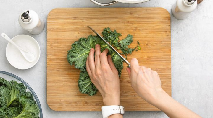 kale on a cutting board