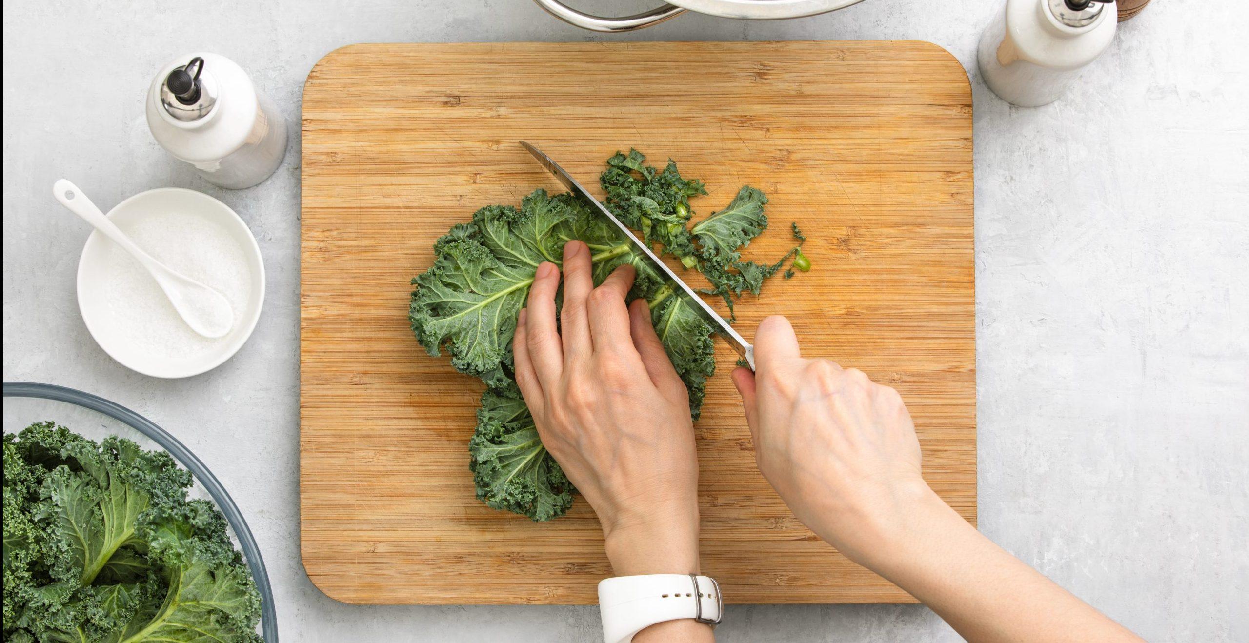 kale on a cutting board