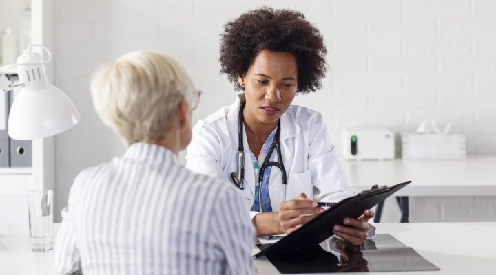 Doctor reviewing lab results