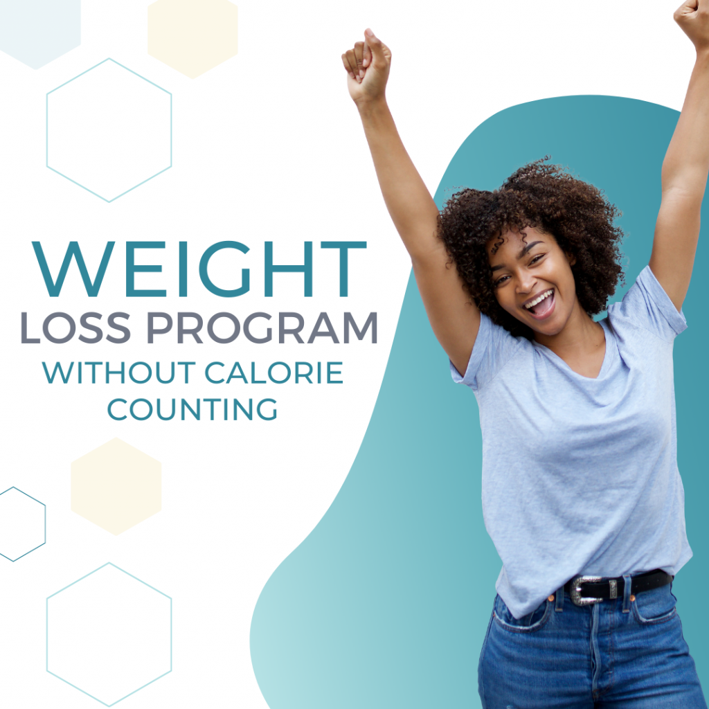 A woman happy about healthy weight loss success